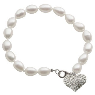 Pearls For You Sterling Silver White Freshwater Rice Pearl and Crystal Heart Charm Bracelet (7-7.5 mm)