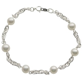 Pearls For You Sterling Silver White Freshwater Pearl Station Bracelet (6-6.5 mm)