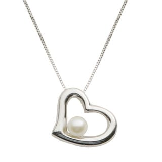 Pearls For You Sterling Silver White Freshwater Pearl Heart Pendant Necklace (5-5.5 mm)