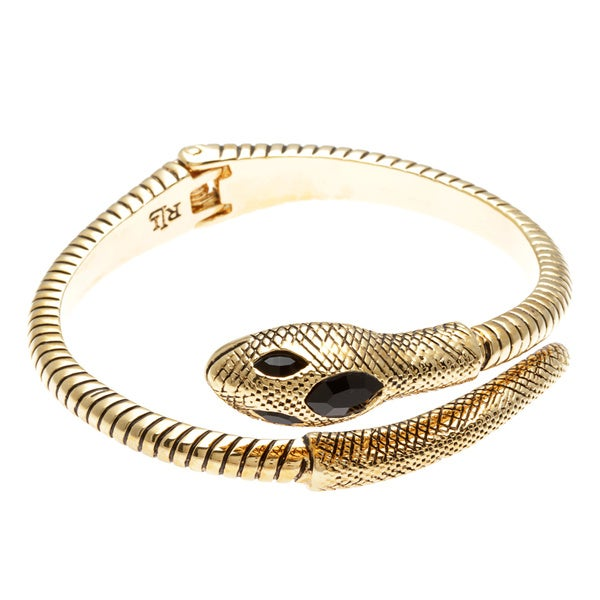 Goldtone/ Black Resin Snake Bangle Bracelet