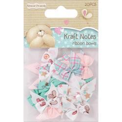 Forever Friends Kraft Notes Ribbon Bows 20/Pkg -