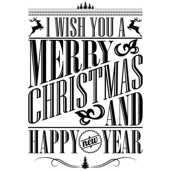 IndigoBlu Cling Mounted Stamp 3 X3 - I Wish You A Merry Christmas - Dinkie