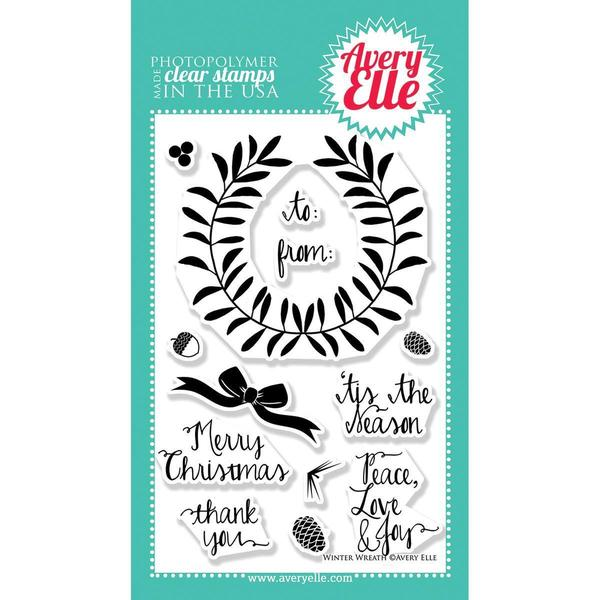 Avery Elle Clear Stamp Set 4 X6 - Winter Wreath