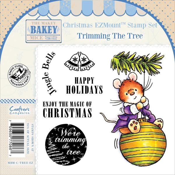 Makey Bakey EZMount Christmas Cling Stamp Set 4.75 X4.75 - Trimming The Tree