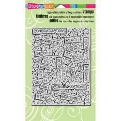 Stampendous Cling Rubber Stamp 4 X6 Sheet - Graduation Background