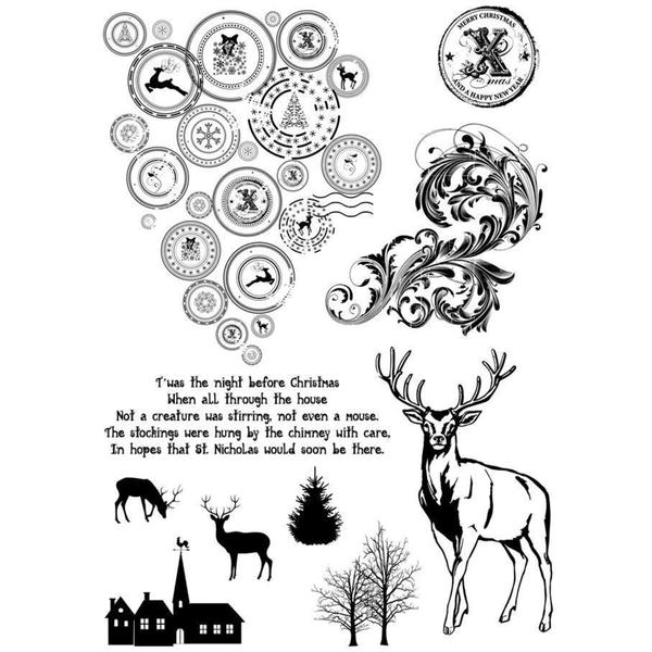IndigoBlu Cling Mounted Stamp 9.25 X6.25 - Looks Like Reindeer