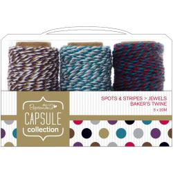 Papermania Spots/Stripes Jewels Bakers Twine 3/Pkg - 3 Colors, 20 Meters Each