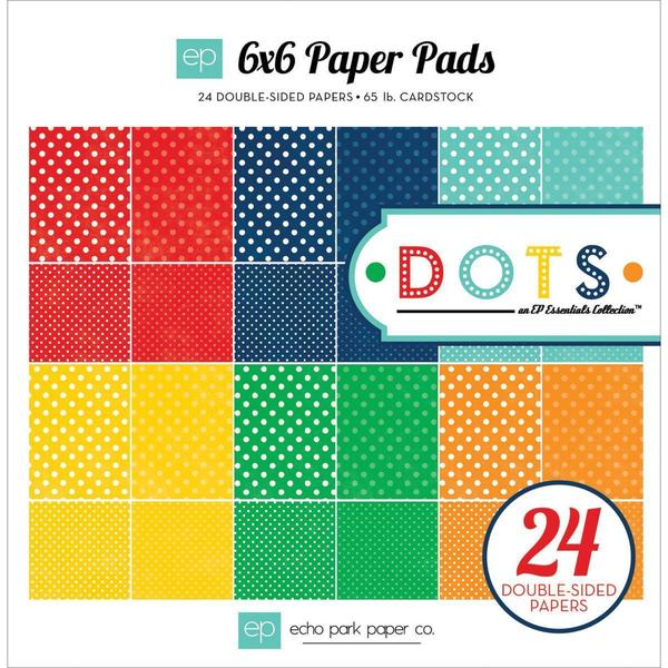 Essentials Dots Primary Cardstock Pad 6 X6 24/Sheets - Double-Sided