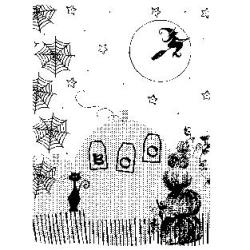 Penny Black Mounted Rubber Stamp 4.5 X3.25 - Halloween Montage