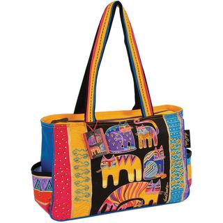Medium Tote Zipper Top 21 X5-1/2 X15 - Fantastic Feline Totem