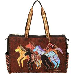 Travel Bag Zipper Top 20-1/2 X8-1/4 X16 - Native Horses