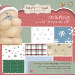 Forever Friends Kraft Notes Designstax 12 X12 48/Sheets - 16 Christmas Designs/3 Each, 200gsm