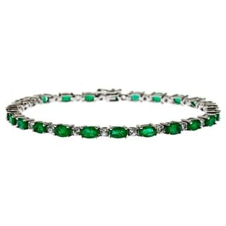 D'Yach Sterling Silver Emerald and White Sapphire Bracelet