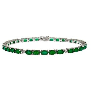 D'Yach Sterling Silver Emerald and 1/10ct Diamond Bracelet (G-H, I1-I2)