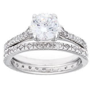 Simon Frank Elegant 2ct TGW Solitare Bridal Ring Set