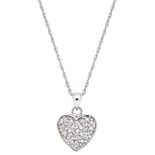 Pearlyta Sterling Silver Cubic Zirconia Heart Pendant Necklace