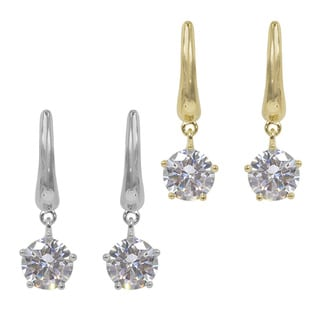NEXTE Brass Cubic Zirconia Swinging Solitaire Dangle Earrings