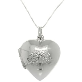Carolina Glamour Collection Sterling Silver Stamped Tree Of Life Locket Necklace