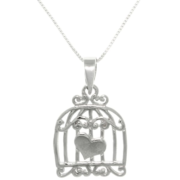 CGC Sterling Silver Caged Heart Love Necklace