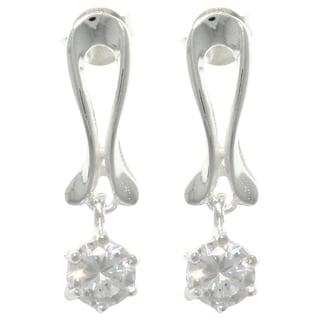 CGC Sterling Silver Round-cut Cubic Zirconia Dangle Earrings
