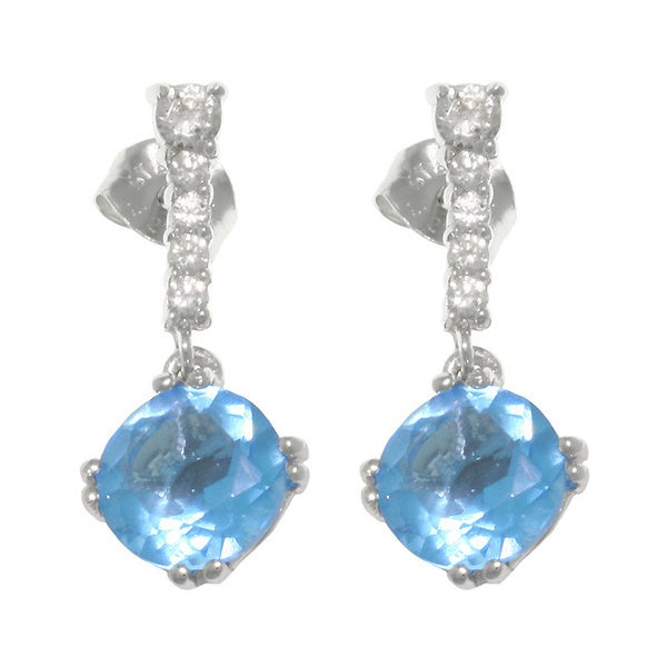 CGC Sterling Silver Sky Blue Cubic Zirconia Drop Earrings