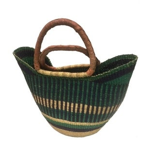 Hand-woven Multicolored Straw Utility Basket (Ghana)