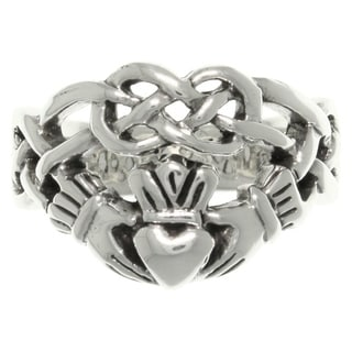 CGC Sterling Silver Celtic Infinity Claddagh Heart Ring
