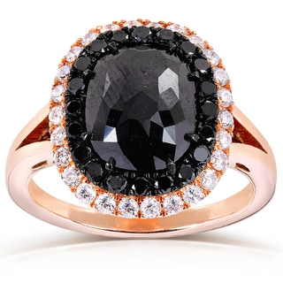 Annello 14k Rose Gold 3 3/4ct TDW Black and White Diamond Halo Ring (G-H, I1-I2)