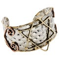 Handcrafted Brass and Copper Star of David Stainless Steel Cuff Bracelet (India)