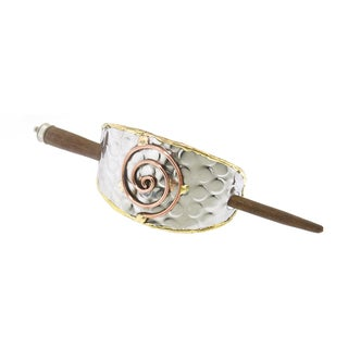 Handmade Copper and Brass Swirl Stainless Steel Hair Slide (India)