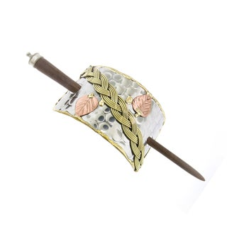 Handmade Brass Braid and Copper Leaves Stainless Steel Hair Slide (India)