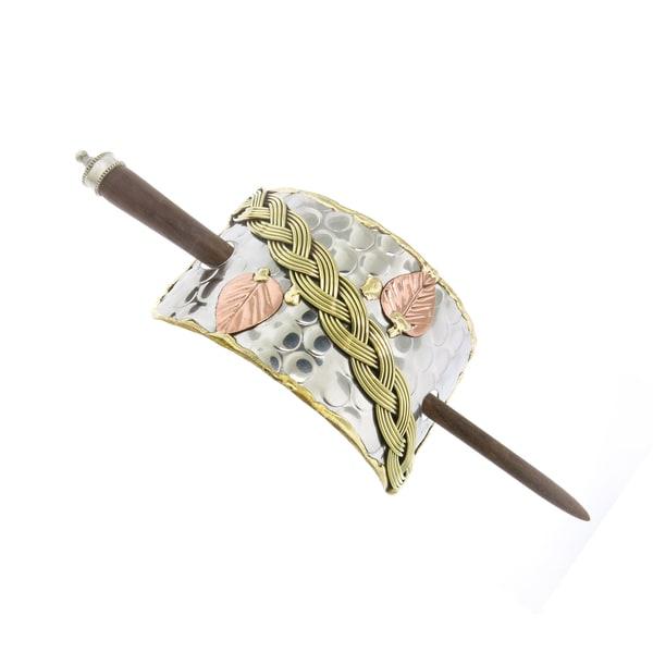 Handmade Brass Braid and Copper Leaves Stainless Steel Hair Slide (India)