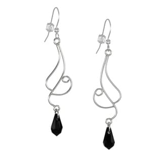 Jewelry by Dawn Curved Sterling Silver Black Crystal Long Dangle Earrings