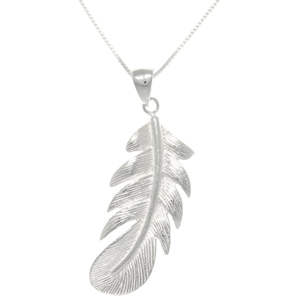 CGC Sterling Silver Polished Feather Necklace