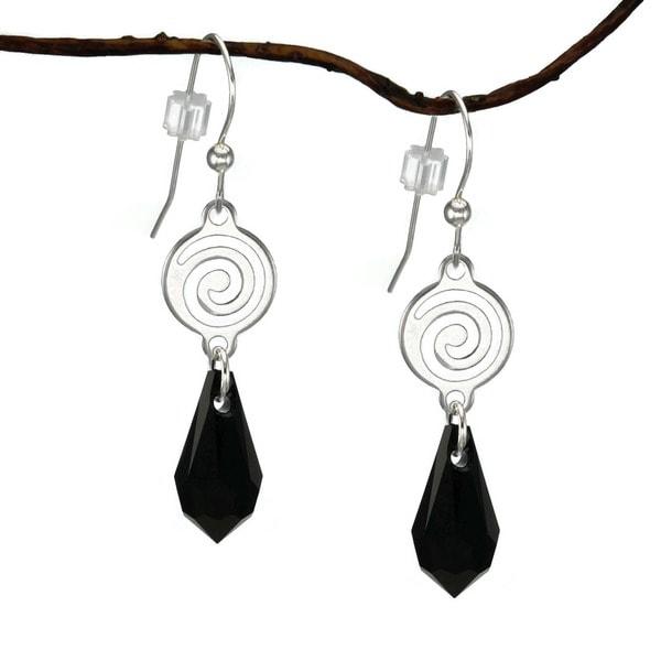 Jewelry by Dawn Silverplated Swirl Jet Black Crystal Teardrop Earrings