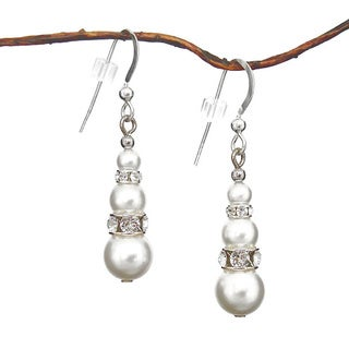 Jewelry by Dawn Round White Crystal Pearl and Crystal Rondelle Dangle Earrings