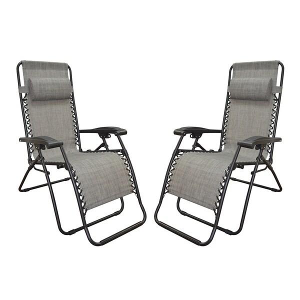 Caravan Canopy Grey Infinity Zero Gravity Chairs (Pack of Two)
