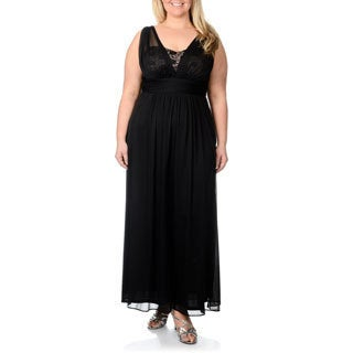 Onyx Nite Women's Plus Size Black/ Nude Sequin Lace Evening Gown