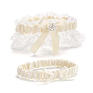 Splendid Elegance White/ Ivory Garter Set