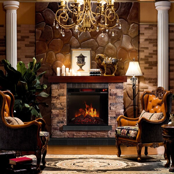 Corvus Stacked Stone Mantel Electric Flame Fireplace