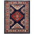 Afghan Hand-knotted Kazak Navy/ Red Wool Rug (2'2 x 2'10)