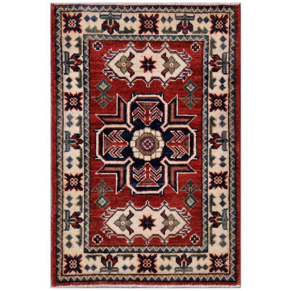 Herat Oriental Afghan Hand-knotted Kazak Wool Rug (1'11 x 2'11) 12449084