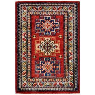 Afghan Hand-knotted Kazak Red/ Navy Wool Rug (2' x 2'11)