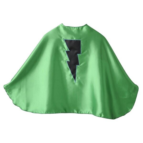 Superflykids Handmade Kid's Green Polysatin and Black Lightening Bolt Superhero Cape