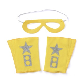 Superflykids Kid's Yellow Superhero 3-piece Cuff and Mask Set