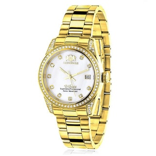 Luxurman Women's Tribeca Yellow Gold-plated 1 1/2ct Diamond Watch with Metal Band and Extra Leather Straps
