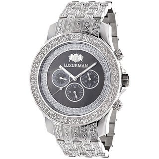 Luxurman Men's Iced Out 1ct TDW Black Diamond Watch Metal Band plus Extra Leather Straps