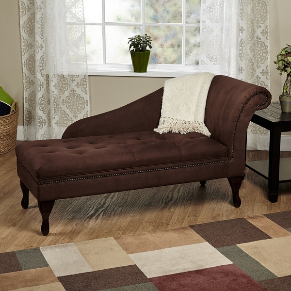 Simple living chocolate brown storage chaise 16027587 for Bella chaise dark brown