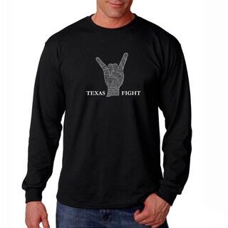 Los Angeles Pop Art Men's 'Texas Fight' Long Sleeve T-shirt