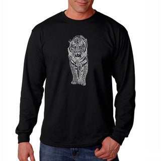 Los Angeles Pop Art Men's 'Endangered Species Tiger' Black Long Sleeve T-shirt